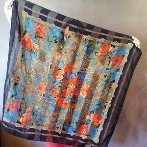 Vintage Floral Striped Chiffon Scarf Wrap 34x33